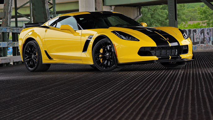 procharged z06 yellow with black stripes